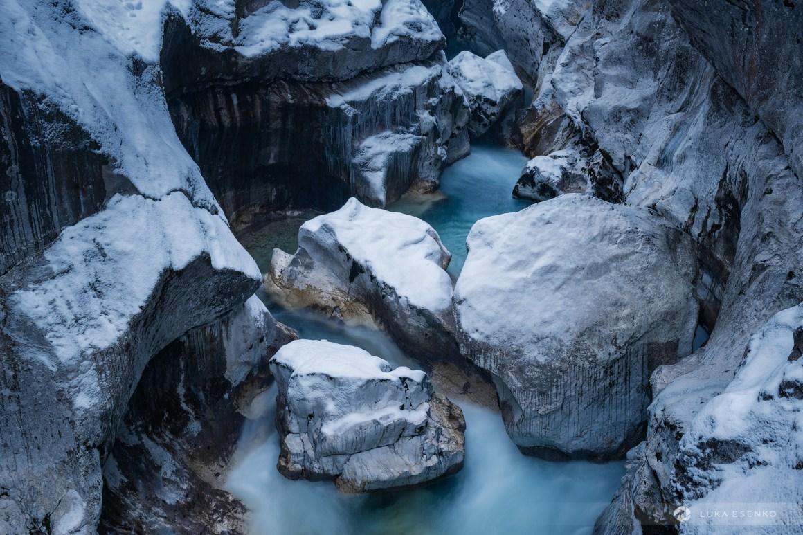 Soča river gorge in winter
