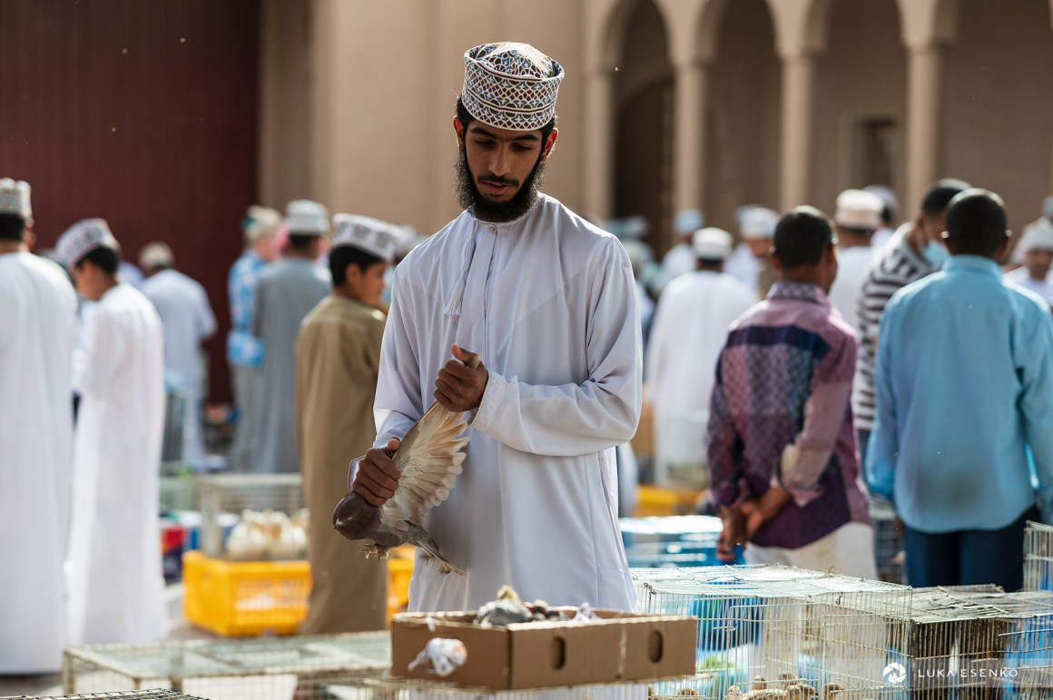 Pigeon seller at Nizwa souq