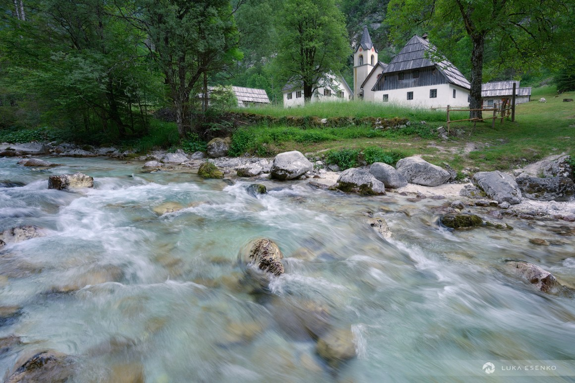 Soča river and a church in Trenta
