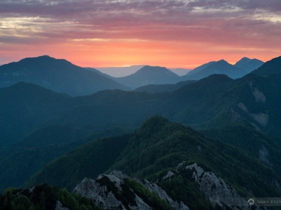 Sunrise from top of Vrh Ljubeljščice
