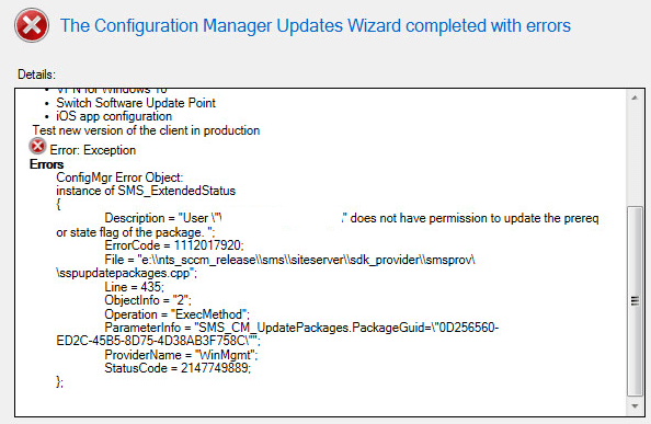 ConfigMgr Error Object