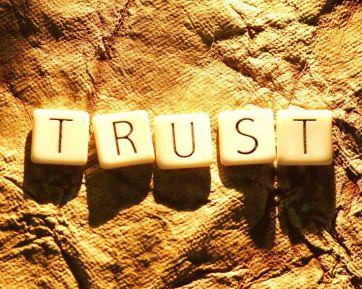 word trust spelled in blocks