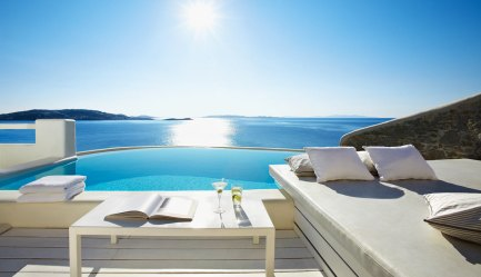 View from the suite at the Cavo Tagoo in Mykonos
