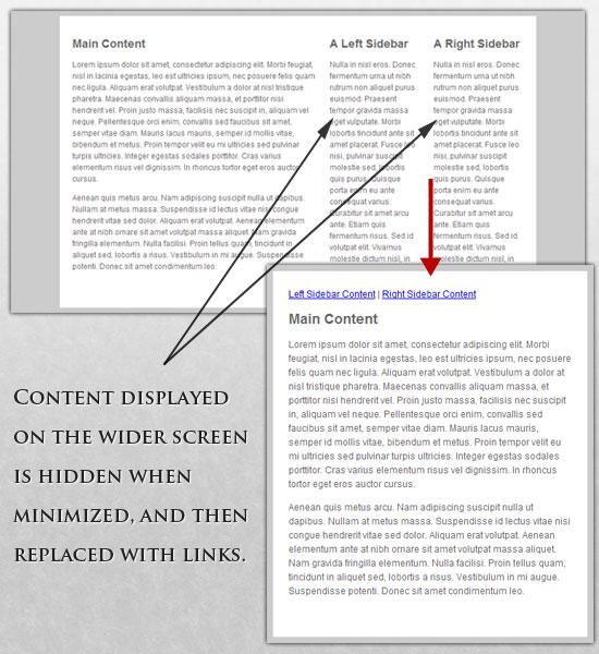 Responsive Design showing hiding content