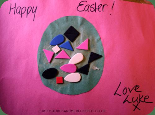 Easter Activities For Toddlers. Foam Shape Easter Egg Card from lukeosaurusandme.co.uk