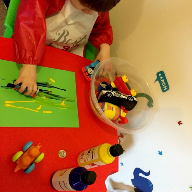 Mark Making with Toy Cars and Trains https://lukeosaurusandme.co.uk @gloryiscalling