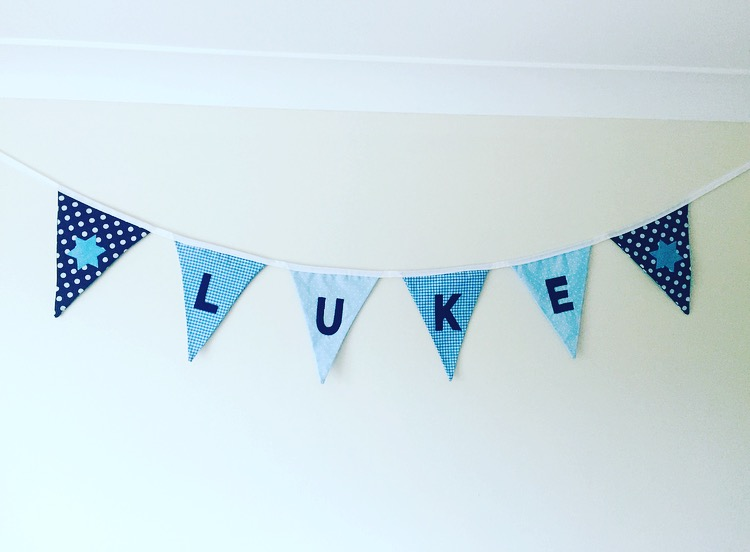 Boy's bedroom bunting ideas, Luke's brand new room featuring Arty Apple baby bunting at http://lukeosaurusandme.co.uk