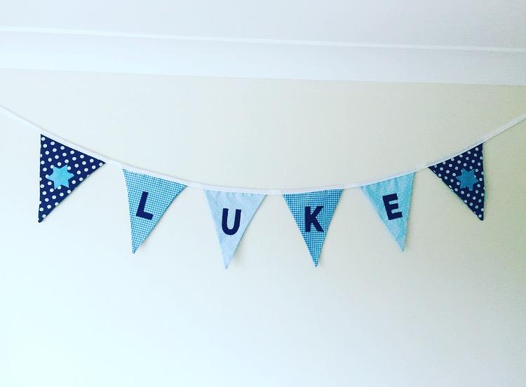 Boy's bedroom bunting ideas, Luke's brand new room featuring Arty Apple baby bunting at https://lukeosaurusandme.co.uk