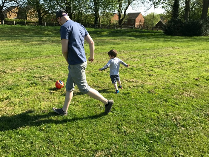 Playing on Rushmoor Arena field at http://lukeosaurusandme.co.uk