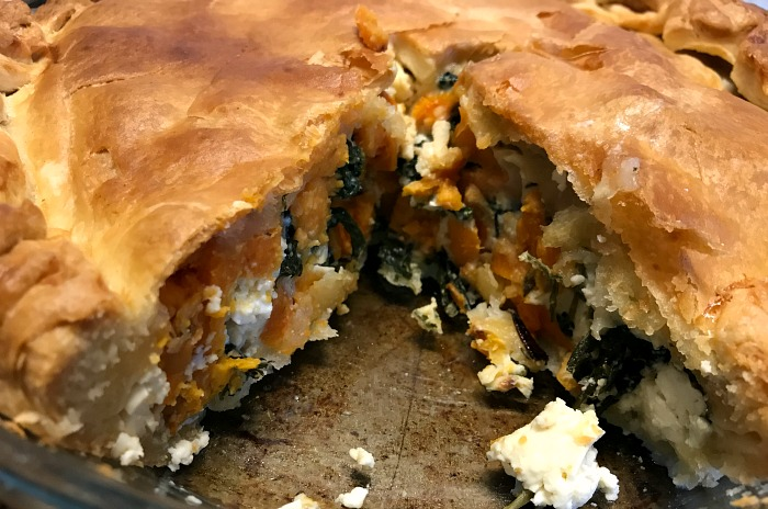 Feta, Spinach and Sweet Potato vegetarian pie from https://lukeosaurusandme.co.uk
