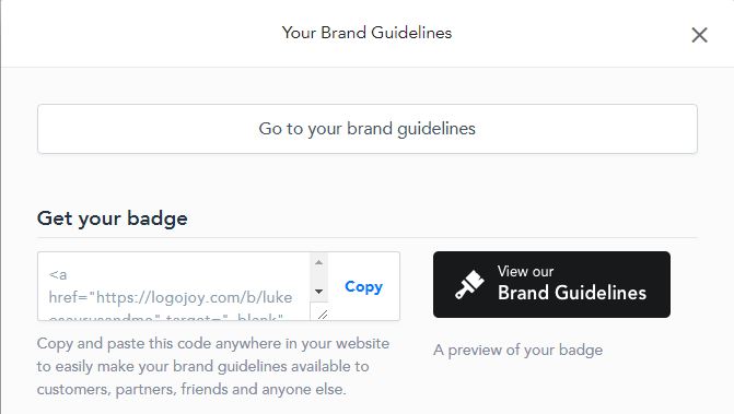 Logojoy brand guidelines feature. Full review at https://lukeosaurusandme.co.uk