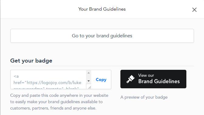 Logojoy brand guidelines feature. Full review at https://lukeosaurusandme.co.uk