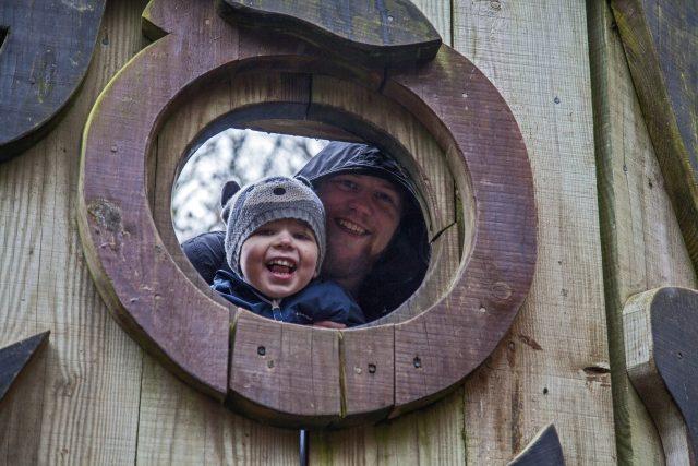 Peeking down from the eye of a giant wooden owl sculpture at Alice Holt Forest, Farnham. For more, visit https://lukeosaurusandme.co.uk