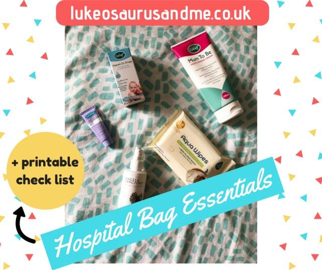 Hospital bag essentials for pregnancy and labour, including free printable check list at https://lukeosaurusandme.co.uk