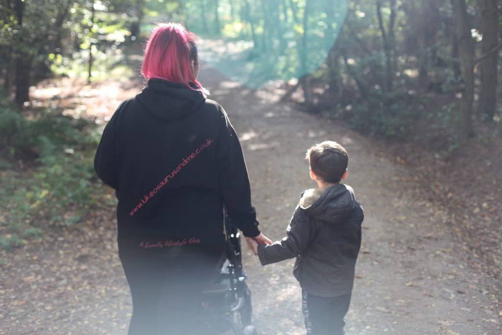 A woman facing away from the camera walking hand in hand with a little boy through the woodland. She's also pushing a buggy.