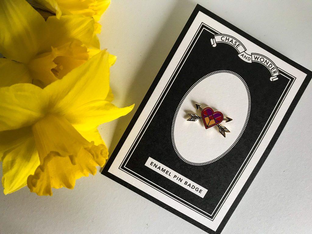 Valentine's Day Gift Ideas For Him and Her - Chase and Wonder Love Heart Enamel Pin Badge at https://lukeosaurusandme.co.uk