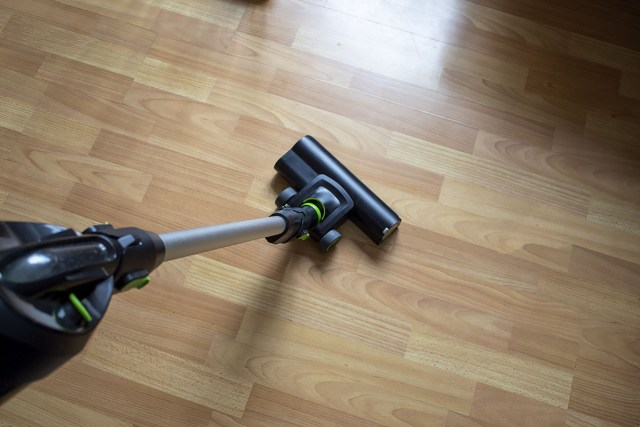 The G=cordless Gtech Pro K9 vacuum cleaner being used on hard flooring