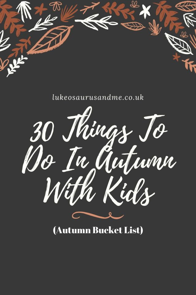 A black graphic with some autumn doodle leaves at the top. The text says 30 Things to do with kids in autumn.