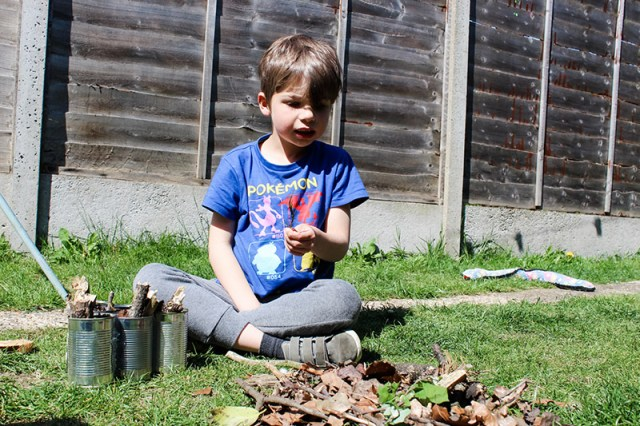 Boy selecting twigs and dead leaves to put into his recycled tin cans for a blog post about building a bug hotel.