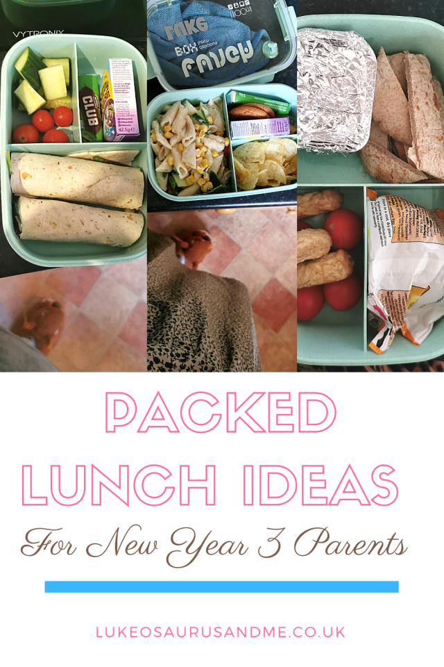 A collection of photos of a child lunch box with food in for a blog post on making packed lunches for school.