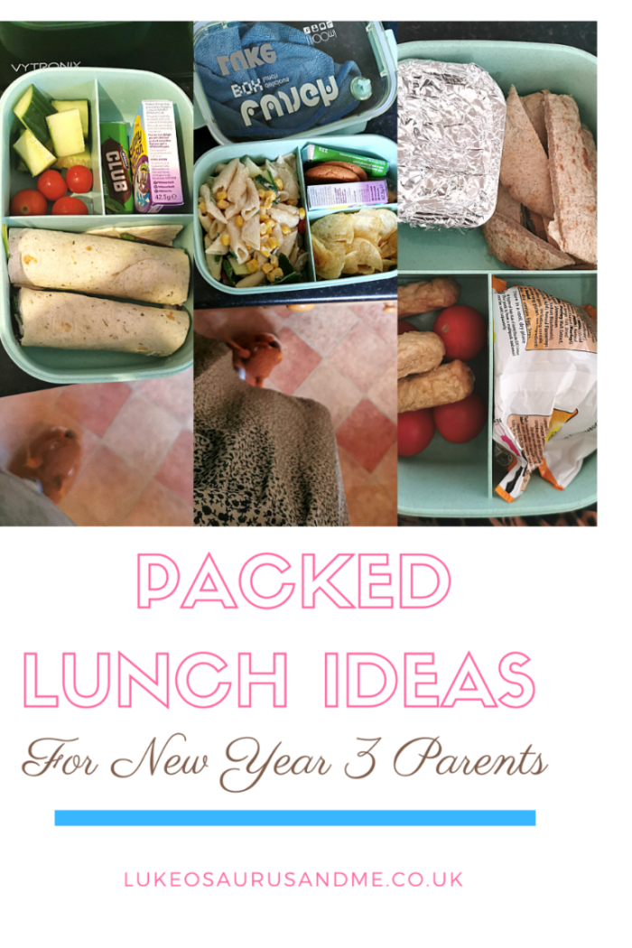 3 images of packed lunches from the first week of school in Year 3 and text that reads 'packed lunch ideas for new year 3 parents' for a blog post on creating fun and nutritional packed lunches for school