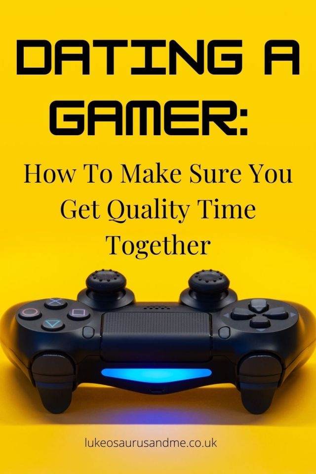 "Yellow background with a ps4 controller at the bottom and the text ""Dating a gamer: how to make sure you get quality time together"""