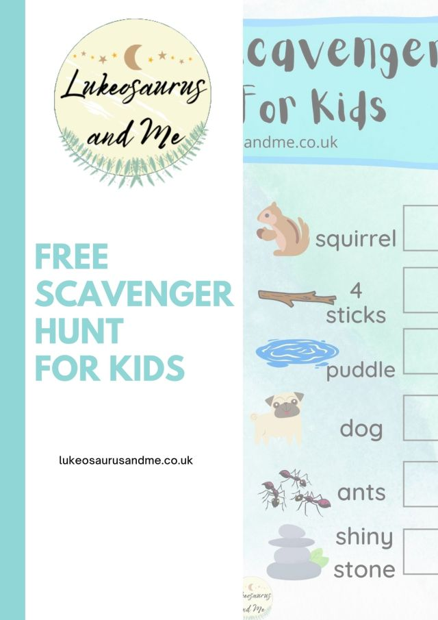 """Image of the Lukeosaurus and Me logo, the text """"free scavenger hunt for kids"""" and a small snippet of the scavenger hunt printable on the right hand side."""