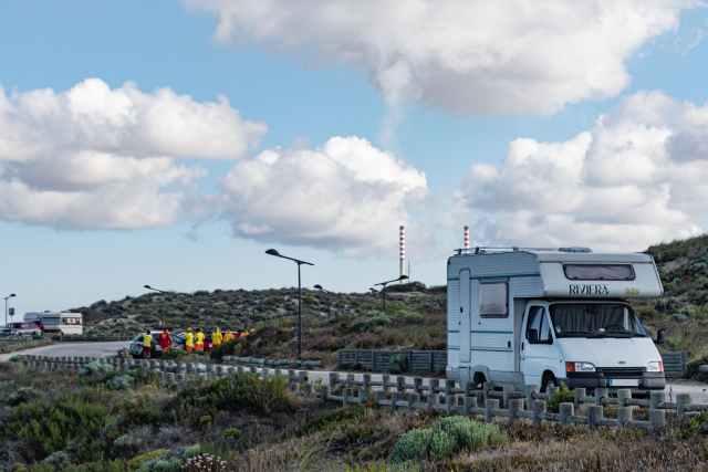 white rv on road