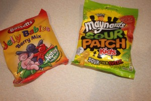 Maynards Sour Patch Kids, Bassets Jelly Babies Berry Mix, and Lindt Lindor Assorted Mini Eggs.