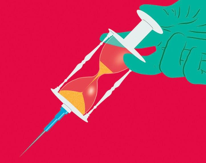 Illustration of syringe that looks like an egg timer.