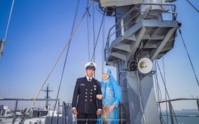 Foto prewedding di kapal