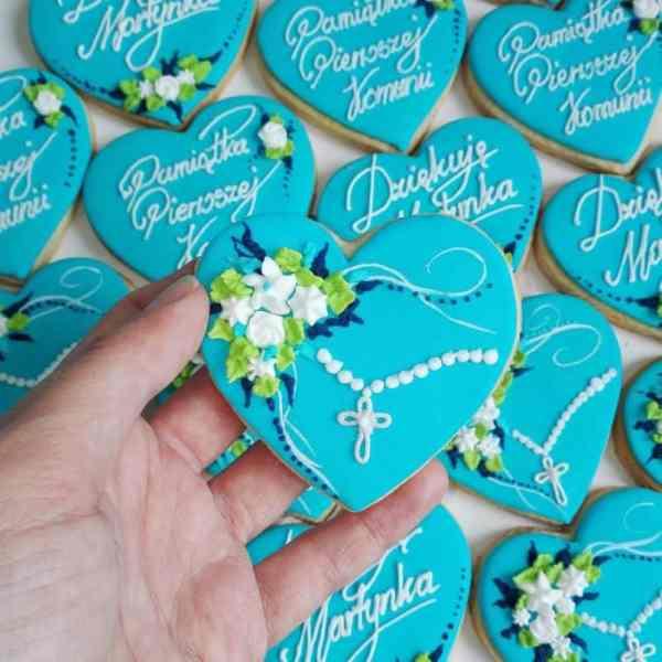 lukrowane ciasteczka na komunię, ciasteczka komunijne, podziękowania komunijne, Basia sweets