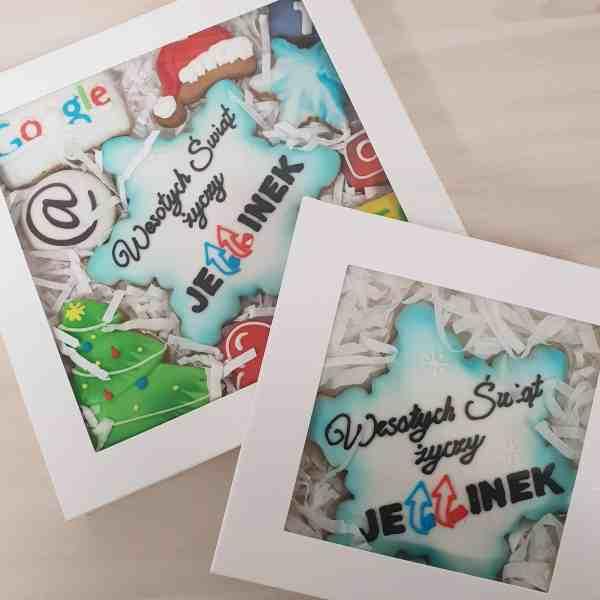 ciastka reklamowe, Lukrowane pierniczki z logo, Jellinek, pierniczki bożonarodzeniowe dla firm, personalizowane zestawy świąteczne dla firm - Basia sweets