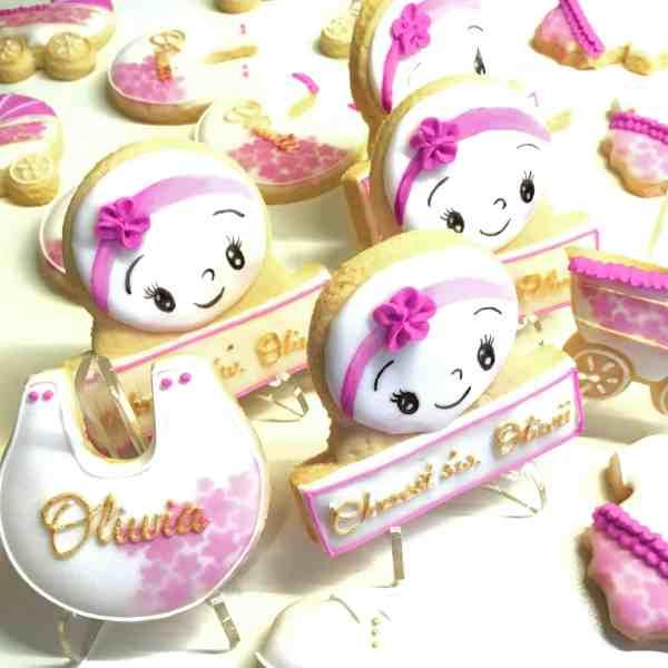 Podziękowania dla gości na chrzest dla dziewczynki - Basia sweets, lukrowane ciasteczka