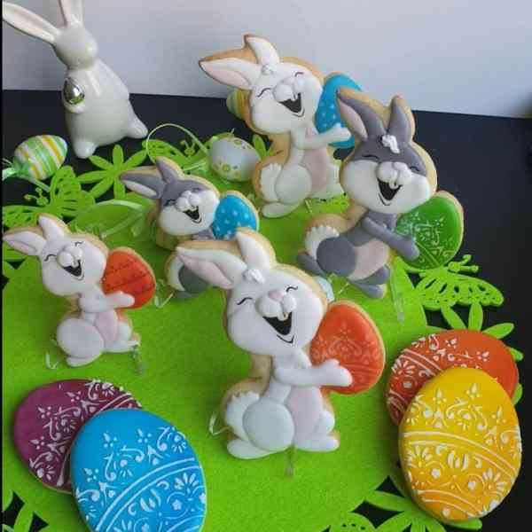 Ciasteczka Wielkanocne, wielkanocny króliczek, pisanki wielkanocne, Wielkanoc, lukrowane ciasteczka Basia sweets