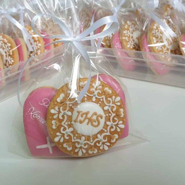 Pamiątka Komunii Świętej, ciasteczka komunijne, podziękowania dla gości, ciastka komunijne Basia sweets