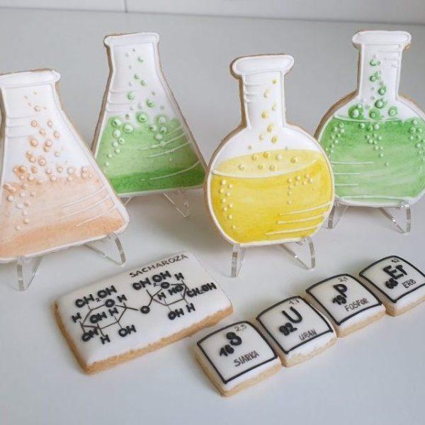 ciasteczka chemiczne, ciasteczka dla chemika, lukrowane ciasteczka Basia sweets