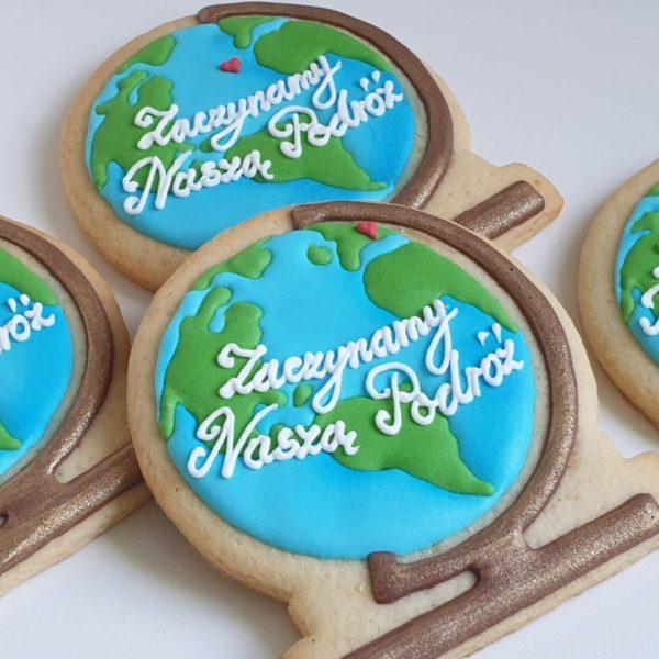 Ciasteczka ślubne globus, podziękowania dla gości na ślub, podziękowania na ślub, lukrowane ciasteczka - Basia sweets