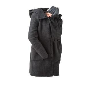 mamalila Manteau en laine de portage et grossesse – Gris Anthracite