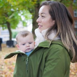 Manteau de portage 3 en 1 imperméable veste doudoune Wallaby - Wombat & Co - Vert - veste grossesse maternité femme enceinte et porte-bébé