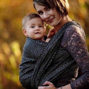 écharpe de portage little frog dark cube coton et lin soutenante confortable facile écharpe tissée bébé