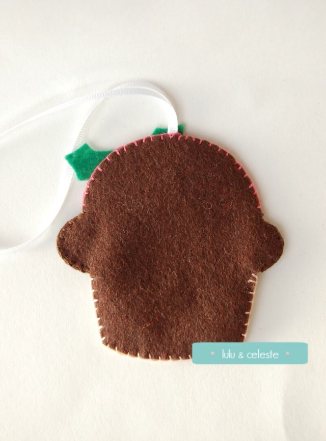 Felt cupcake ornament back