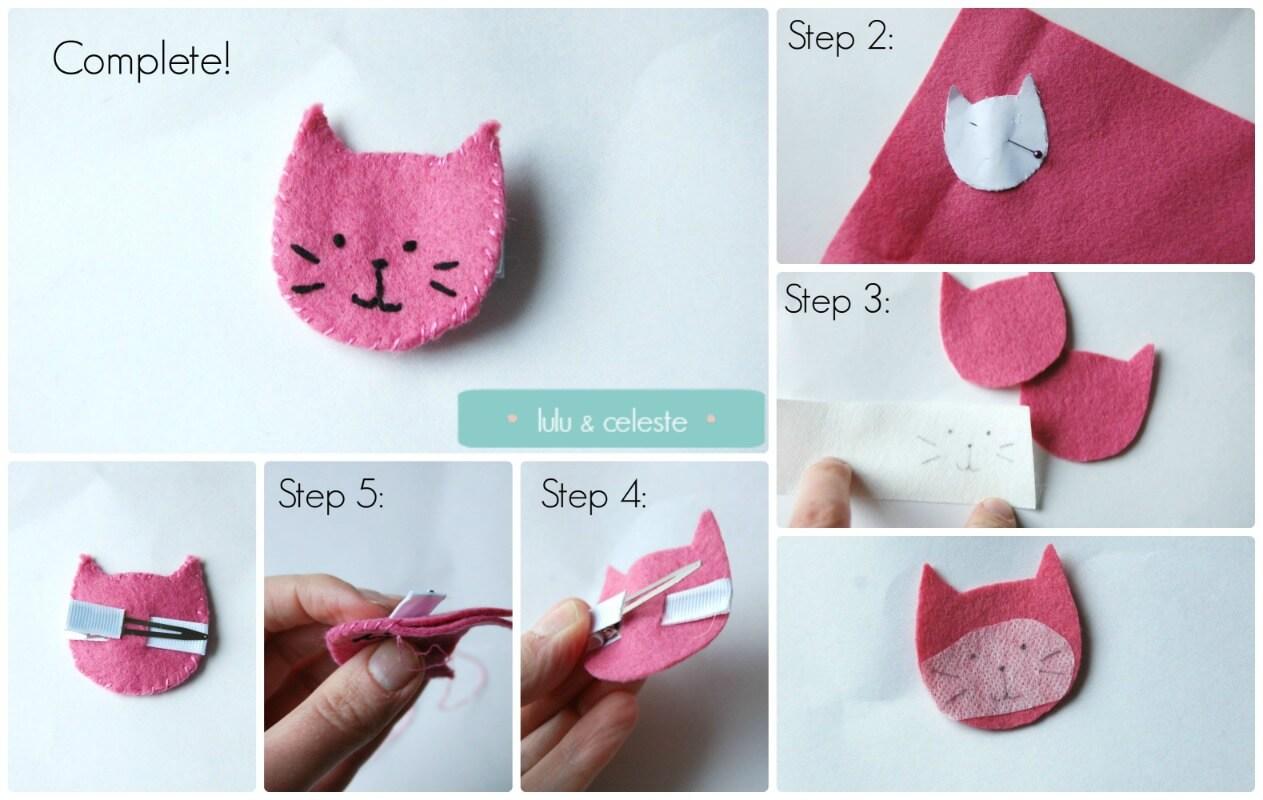 Kitty Cat Hair Clip tutorial by Lulu & Celeste