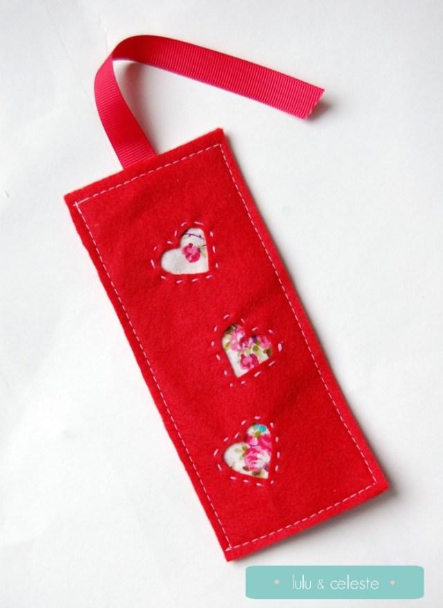 Felt Valentine's Bookmark