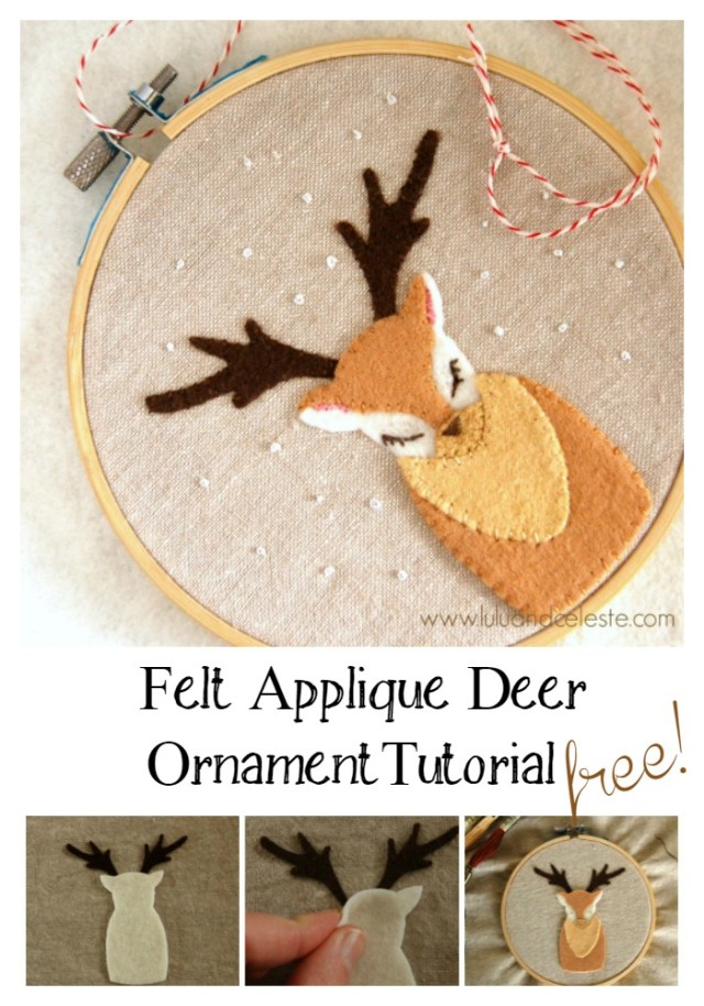 Felt Applique Deer Ornament Tutorial by Lulu & Celeste