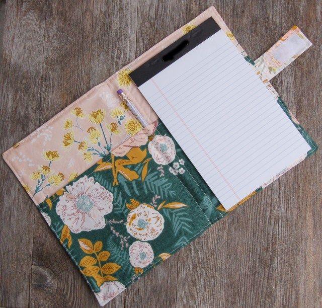 List taker, notepad holder, writing pad holder, grocery list taker. Sewn by Lulu & Celeste