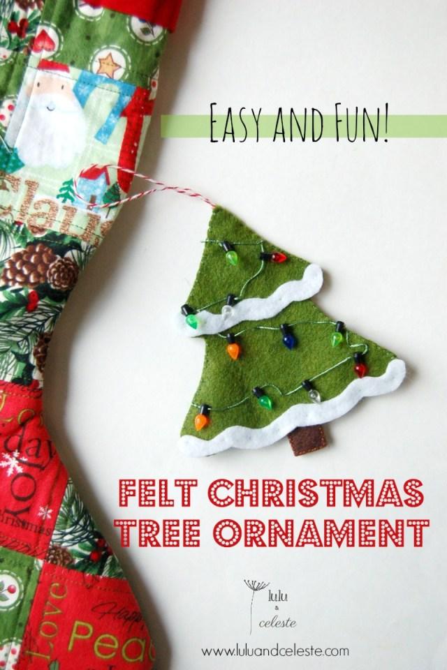 Free Felt Christmas tree ornament tutorial by Lulu & Celeste