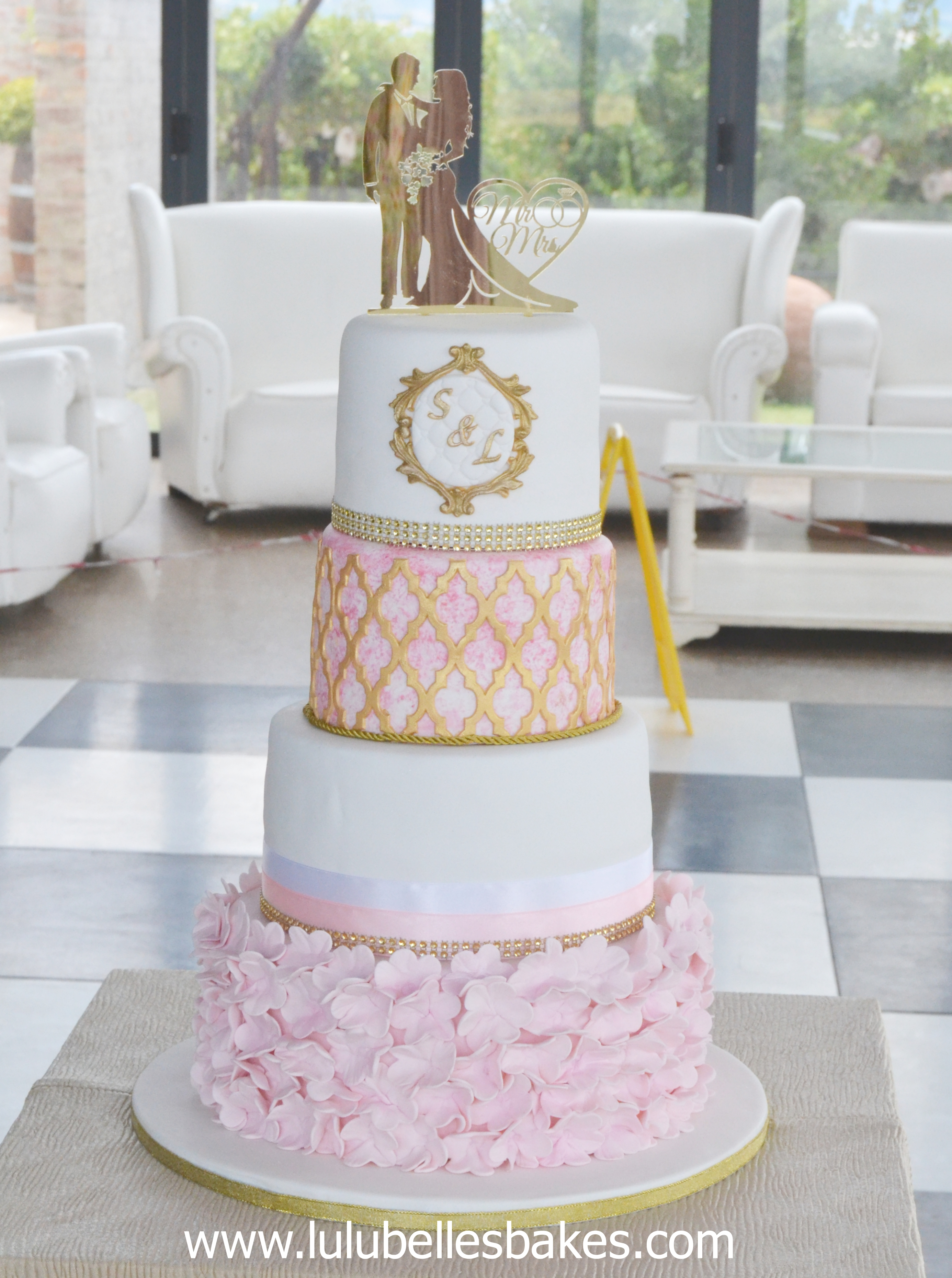 Wedding cakes   Pink  white and gold ruffle and Moroccan lace wedding cake