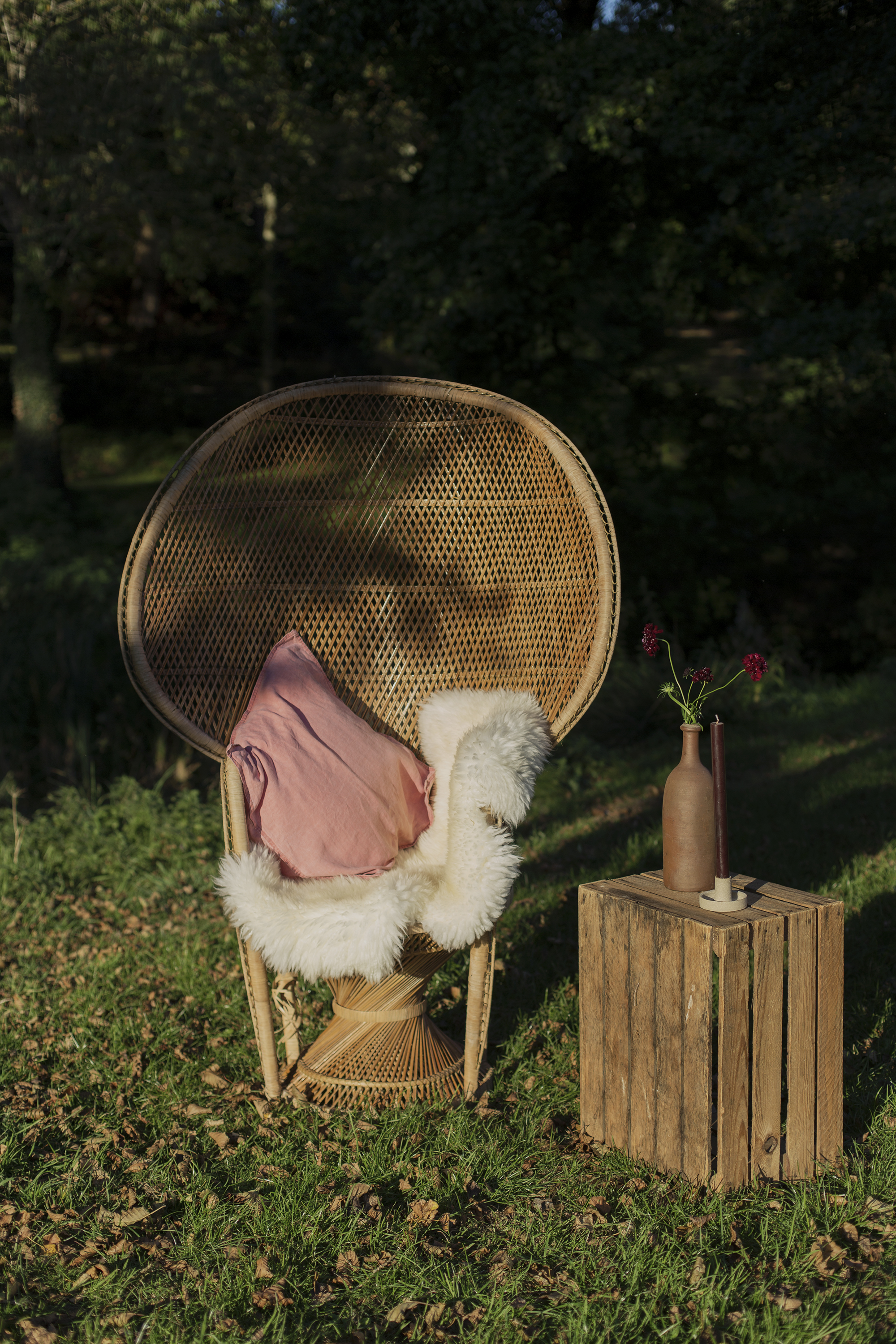 peacock chair, wooden crate table, props and accessories hire