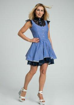 Sukienka Sissi, sukienka lulu, lulu by adriana okoń, sukienka z koronki, sukienka w paski, sukienka polskiego projektanta